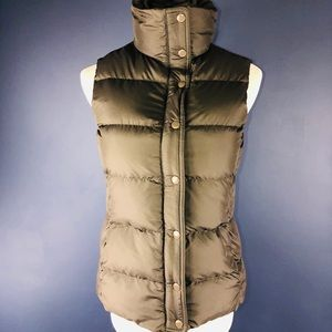 J Crew XS Brown Down Feather Button Puffer Vest